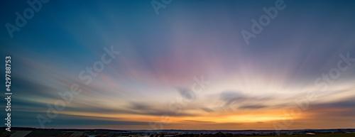 Long exposure sunset panorama with beautiful sky - fototapety na wymiar