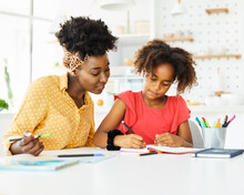 Homework Teaching Education Mother Children Daughter Familiy Childhood Child Teacher Classroom Black African American