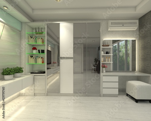 Obraz na plátně Fitting room design with minimalist wardrobe clothes and dressing table with mir