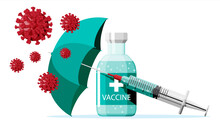 Vaccination Against Coronavirus. Time To Vaccinate, Concept. Medical Syringe Injection Vaccination. Umbrella Protect Against Corona Virus, Cell Models, Health Care. Flat Vector Illustration