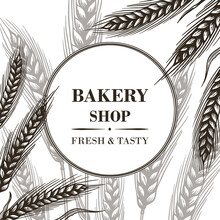 Vector Background With Wheat Ears. For The Decoration Of Food Products, Pastry Shops, Cafes And Restaurants.