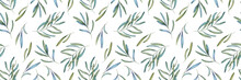 Seamless Pattern Of Watercolor Green Branch, Leaves For Print, Paper