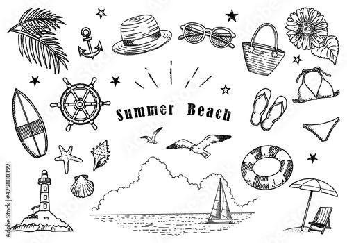 Vászonkép 夏のビーチイラストセット 手描き線画 01