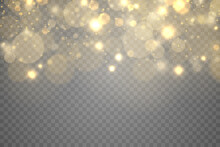 Golden Magic Dust Particles Bokeh Light Effect.