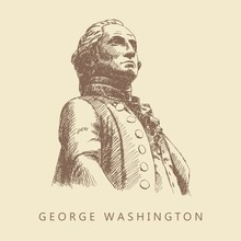 Sketch Of The George Washington Statue On A Beige Background, New York, Wall Street, Hand-drawn.