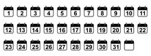 Every Day Of A Month Calendar Icons. Set Of Black Calendar Icons. Vector Illustration.
