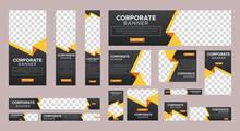 Abstract Banner Design Web Template Set, Horizontal Header Web Banner. Modern Gradient Yellow Cover Header Background For Website Design, Social Media Cover Ads Banner, Flyer, Invitation Card
