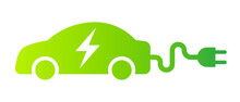 Electric Car With Plug Green Icon Symbol, EV Car Hybrid Vehicles Charging Point Logotype, Eco Friendly Vehicle Concept, Vector Illustration