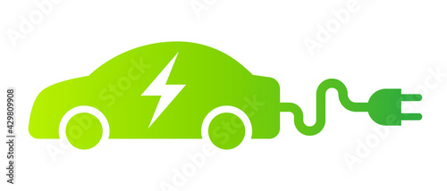 Electric car with plug green icon symbol, EV car hybrid vehicles charging point logotype, Eco friendly vehicle concept, Vector illustration - fototapety na wymiar