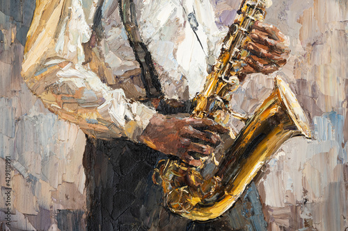Wallpaper Mural Stylish jazz band playing music on the scene, background is brown