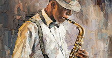 Stylish Jazz Band Playing Music On The Scene, Background Is Brown. Close-up Fragment Of  Oil Painting And Brush. .The Jazzman Plays The Saxophone.