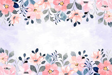 Watercolor Pink Floral Frame Background