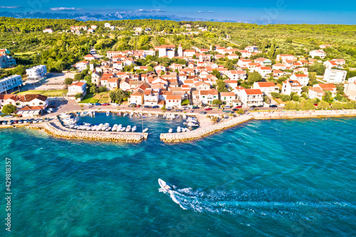 Zadar. Village of Diklo in Zadar archipelago aerial view of harbor and turquoise sea - fototapety na wymiar