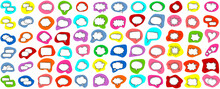 Cartoon Talk Bubble. Speech Clouds, Thinking Bubbles And Conversation Text Elements Vector Illustration Set. Empty Speech And Thought Bubbles In Pop Art Style. Good Scaling. Perfect Transparency