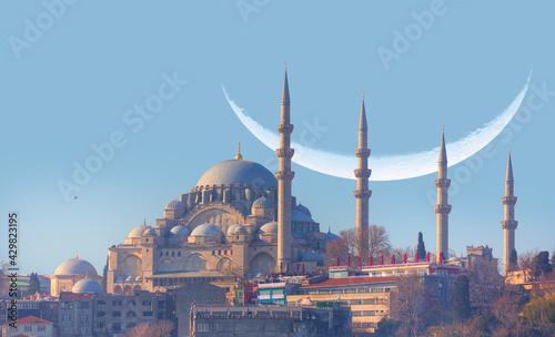 Fotografia Suleymaniye Mosque with crescent located in Fatih - Istanbul, Turkey