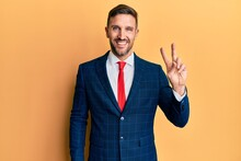 Handsome Man With Beard Wearing Business Suit And Tie Smiling With Happy Face Winking At The Camera Doing Victory Sign. Number Two.