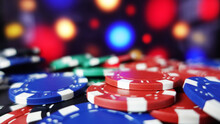 Gaming Casino Business Background With Multicolour Poker Chips. Close Up With Depth Of Field