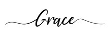 Grace. Grace Text. Vector Illustration For Shop, Discount, Sale, Flyer, Decoration. Lettering Style. Vector