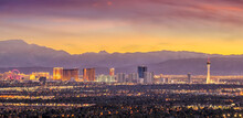 Panorama Cityscape View Of Las Vegas At Sunset In Nevada