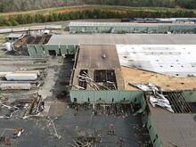 Commercial Building Damage After Strong Tornado Storm