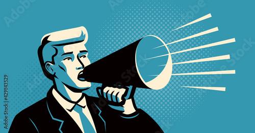 Fényképezés Man holding a loudspeaker shouts announcing