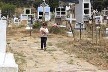 Niña Caminando En Cementerio Con Su Perro