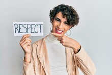 Young Man Wearing Woman Make Up And Woman Clothes Holding Respect Banner Smiling Happy Pointing With Hand And Finger