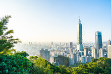 Beautiful Landscape And Cityscape Of Taipei 101 Building And Architecture In The City