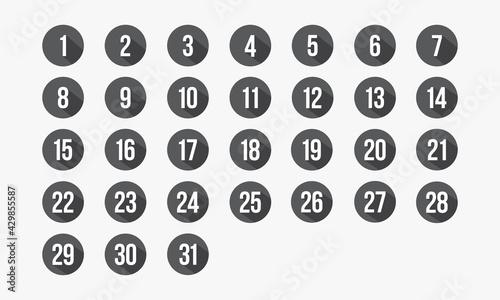 Fotografia number circle icon set 1-31. calendar vector illustration.