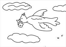 Hand Drawn Cartoon Cute Bird Carrying Fish Black And White