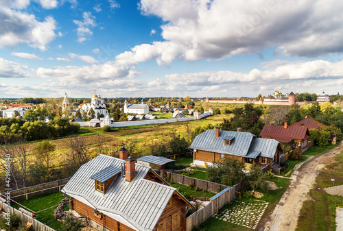 View of Suzdal, Golden Ring of Russia. Intercession convent (Pokrovsky monastery) in distance. - fototapety na wymiar