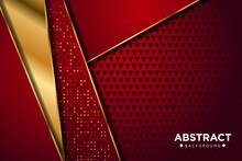 Gold Abstract Red Background Banner With Circle Gold And Golden Gliters Dots Color Creative Digital Light Modern