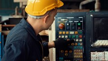 Skillful Factory Engineer Or Worker Do Machine Job In Manufacturing Workshop . Industrial People And Manufacturing Labor Concept .