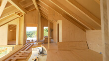 CLOSE UP: View Of Beautiful Unfinished Interior Of A Prefabricated Lumber House.