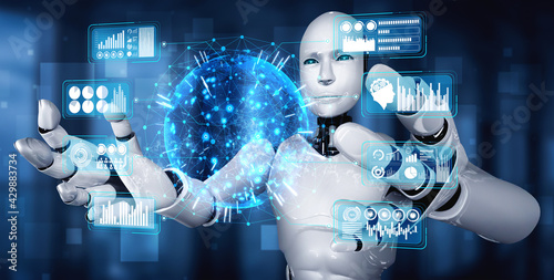 AI humanoid robot holding virtual hologram screen showing concept of big data analytic using artificial intelligence thinking by machine learning process. 3D illustration. - fototapety na wymiar