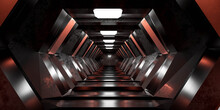 Futuristic Sci-fi Design Space Station Hallway Tunnel 3d Render Illustration With Reflections And Science Fiction Design Wallpaper Background