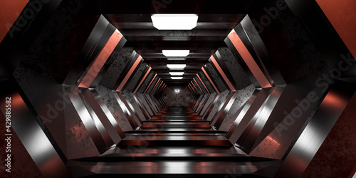 Canvas futuristic sci-fi design space station hallway tunnel 3d render illustration wit