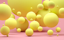 Abstract Background With Pink Spheres With Different Sizes. Modern Background Design. 3d Render