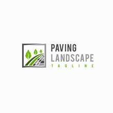 Paving Landscape Logo With Lettering Concept