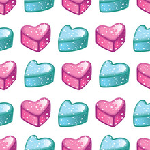 Vector Seamless Pattern With Pink And Mint Candies.