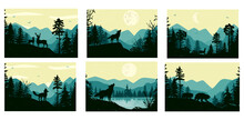 Silluets Of Animals. Landscape With Mountains And Forest. Vector. Eps