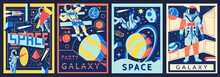 Space Posters. Futuristic Astronaut Banners Set. Cosmic Backgrounds With Spaceman And Galactic Views. Universe Explorers And Abstract Astronomical Psychedelic Shapes. Vector Cosmos