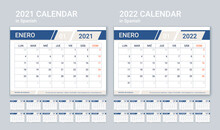 2021 2022 Spanish Calendar. Planner Template. Week Starts Monday. Vector. Calender Layout With 12 Month. Yearly Organizer. Table Schedule Grid. Horizontal Monthly Diary. Simple Illustration