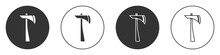 Black Firefighter Axe Icon Isolated On White Background. Fire Axe. Circle Button. Vector