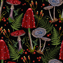 Embroidery Mushrooms Seamless Pattern. Dark Autumn Forest. Gothic Fairy Tale Art. Fashion Nature Template For Clothes, Textiles, T-shirt Design