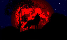 Illustration Of A Howling Wolf