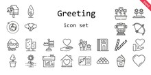 Greeting Icon Set. Line Icon Style. Greeting Related Icons Such As Love, Birdhouse, Father And Son, Flowers, Balloons, Signpost, Tree, Bow, Decorative, House, Flower, Ball, Teacher, Divider