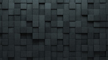 3D Tiles Arranged To Create A Semigloss Wall. Concrete, Square Background Formed From Futuristic Blocks. 3D Render