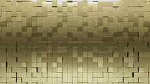 Glossy, Polished Mosaic Tiles Arranged In The Shape Of A Wall. 3D, Square, Bullion Stacked To Create A Gold Block Background. 3D Render
