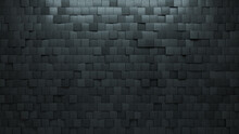 Square, Concrete Wall Background With Tiles. Polished, Tile Wallpaper With Futuristic, 3D Blocks. 3D Render